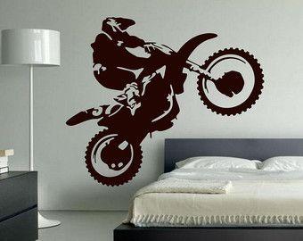 Motocross Wall Decal Motocross Decor Dirt Bike Wall Decal Etsy Bike Room Dirt Bike Bedroom Motocross Decor
