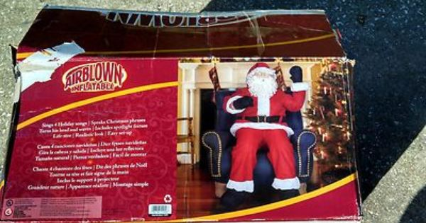 Gemmy Inflatable Airblown 5 Tall Realistic Animated Santa Sitting In Chair Used Inflatable Inflatables Animation