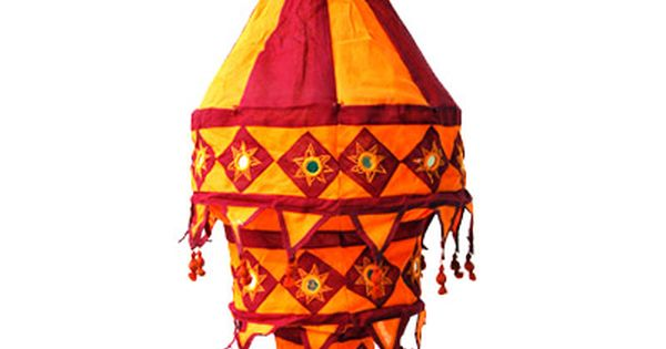 Orange Antique Beaded Triangle Tea Light Candle Holder Wedding Morrican Indian