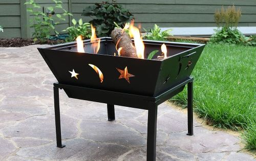 Sunnydaze 22 Inch Outdoor Square Stars And Moons Fire Pit With Spark Screen Wood Burning Fire Pit Square Fire Pit Fire Pit Bowl