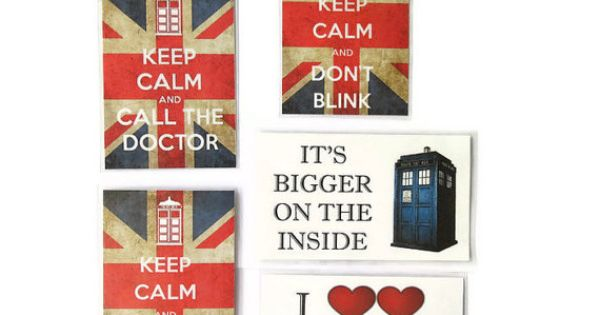 Doctor Who Magnet Set, 5 Geeky Tardis Fridge Magnets, Keep Calm, It's