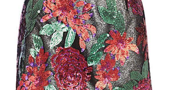 More JRC Sequins! Black flower embellished skirt Matching