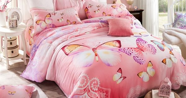 Hot pink and purple butterfly print pastel style cute - Pink and purple bedding queen ...