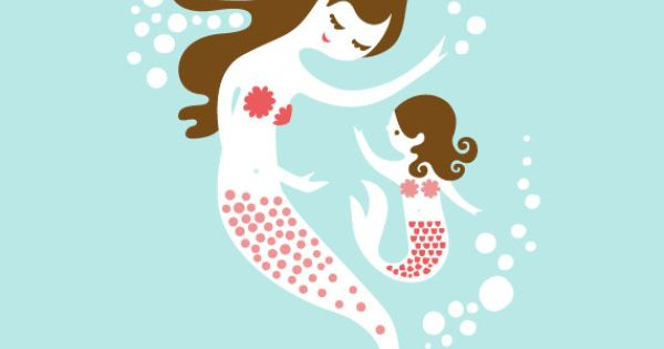 mermaid mother & daughter aqua/coral/pink/brunette print by The Paper Nut