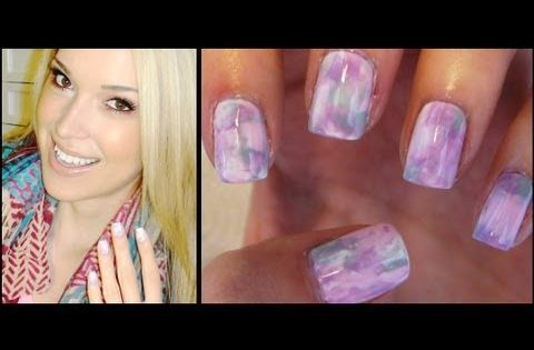 How To: Watercolor Nails ♥ NO water needed! Looks like tie dye