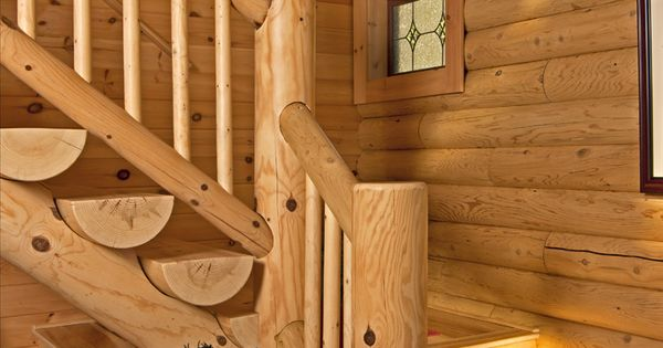 Open Log Stairs: L-shaped Half-log Stairs Lead To The Upper-level Loft And