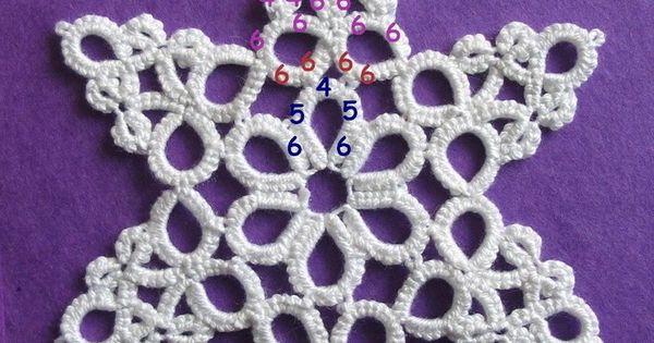 Free Irish Crochet Snowflake Pattern : Colgante pendientes y gargantillas de frivolite ...