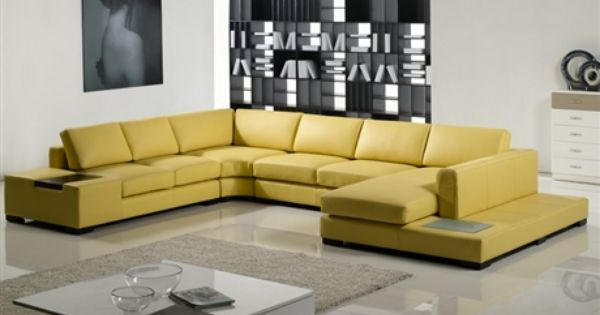 Modern Yellow Leather Sectional Sofa Tos Lf 2029 Yel Cheap Home Furniture Sectional Sofa Contemporary Living Room Furniture