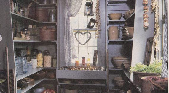 Primitive pantry. Picture torn from and old, unknown magazine. Primitives and Fall