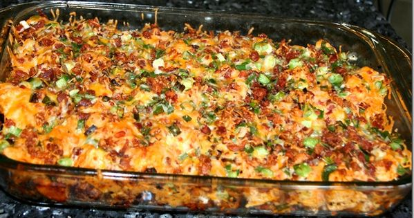 Loaded baked potato and chicken casserole. Loaded Potato & Buffalo Chicken Casserole