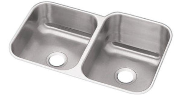 Revere Stainless Steel Sinks : ELKAY Dayton Stainless Steel Double Bowl Undermount Sink DXUH312010L ...