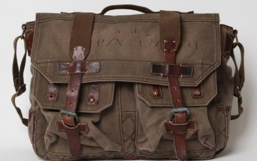 Ralph Lauren messenger bag w/ vintage leather straps. Solid. - Click image