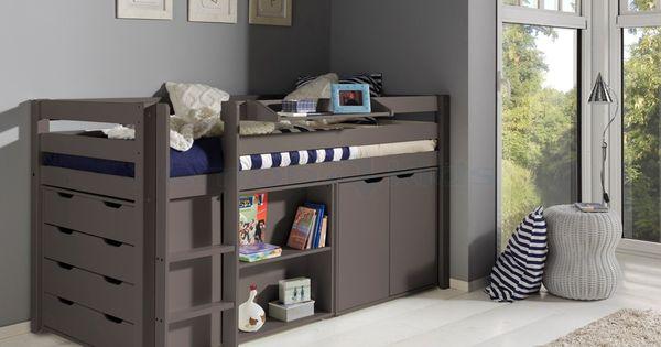 Halfhoogslaper charlotte met bureau taupe liz nieuwe kamer pinterest taupe bureaus en met - Midden kamer trap ...