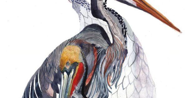 Beautiful bird print by United Thread http://www.etsy.com/listing/77604600/pelican-heron-and-crane-archival-print