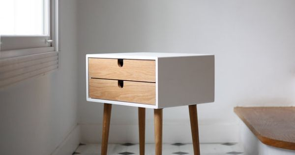 White Nightstand Bedside Table Scandinavian Mid Century