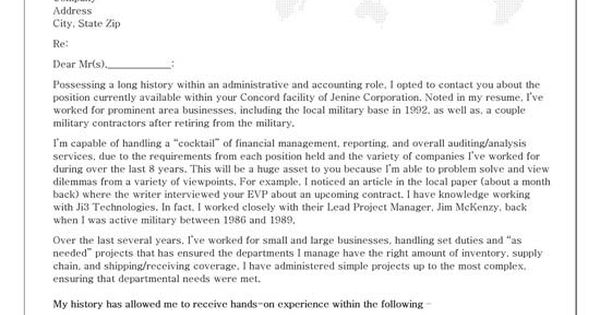 Administrative Cover Letter Example