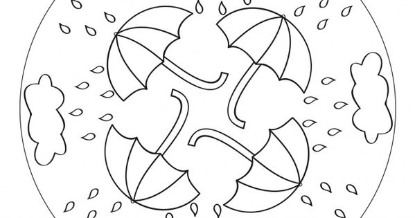 Rain Umbrella Mandala For Kids To Print And Color As A