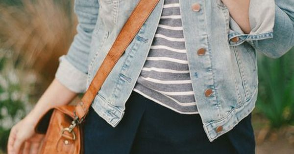 navy skirt + gray and white striped tee + jean jacket