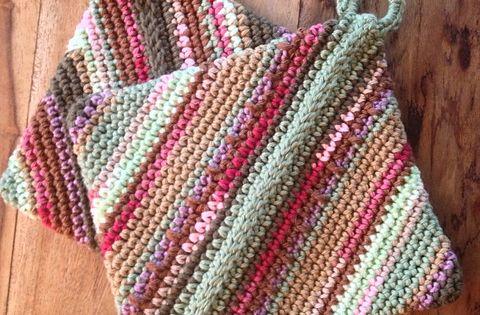 Double-thick Diagonally Crocheted Potholder coasters ...
