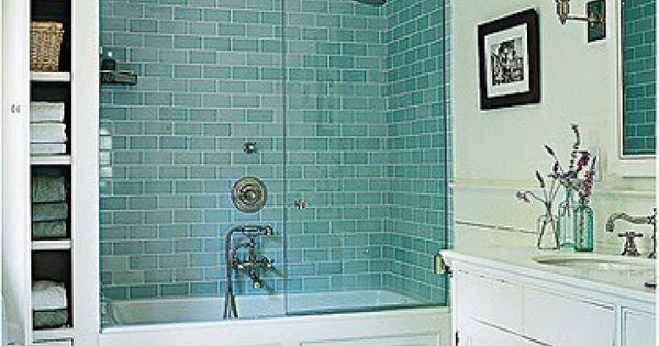 Prachtig blauwe metrotegels voor in de doucheruimnte badkamer pinterest metrotegels - Groene metro tegels ...