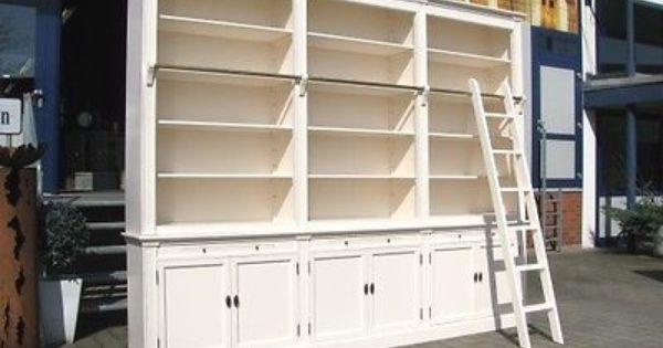 Bibliothek Bucherschrank In Weiss Mit Leiter 300 Cm Zerlegbar Shabby Chic Regal Shabby Chic Regale Regal Bucherschrank