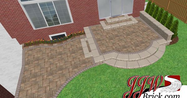 Brick Patio Design This Paver Reveals A 2 Tier With Seating Wall To Add More Seats Without Using Up Square Footage