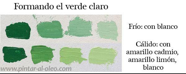 Aclarar Los Verdes Con Blanco O Con Amarillos Mezcla De Colores De Pintura Como Hacer Color Verde Hacer Colores