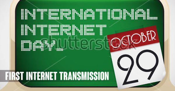 Retro Computer With Green Screen And Loose Leaf Calendar With Reminder Date For International Internet Day In October 29