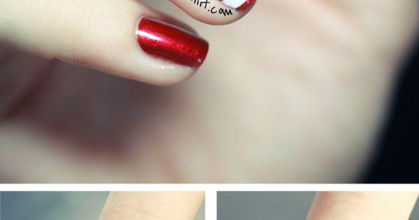 23 Creative Nails Tutorials. Easy candy cane nail idea.