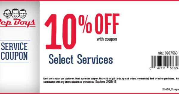 Pep Boys Online Printable Coupons 10 Off Select Services Pep Boys Printable Coupons Coupons