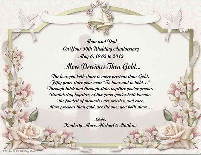 50th Wedding Anniversary Poem Gift For Mom Dad Anyone Wedding Anniversary Poems Wedding Anniversary Cards Anniversary Poems