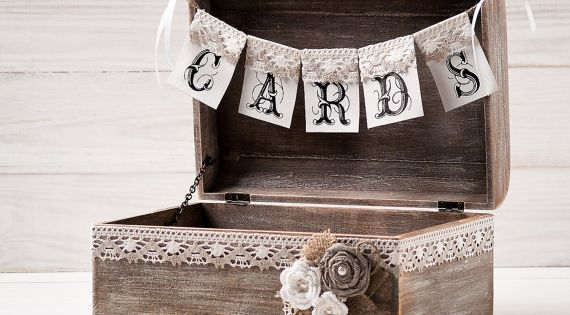 Rustic Wedding Cards Box Holder With Burlap And Lace Cards