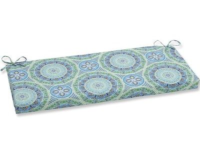 Pillow Perfect Delancey Jubilee Indoor Outdoor Bench Cushion Fabric Indoor Bench Cushions Blue Bench Cushion Cushion Fabric