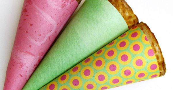 DIY ice cream cone wrappers! Cute idea for a summer party!