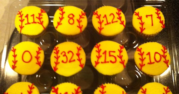 Baseball cupcakes with each player's number... great idea for end of season