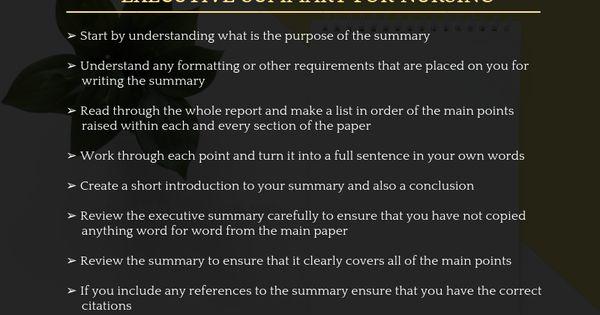 Nursing School Executive Summary Writing Tip Tips Apa Citation When Paragraph I Paraphrasing Whole