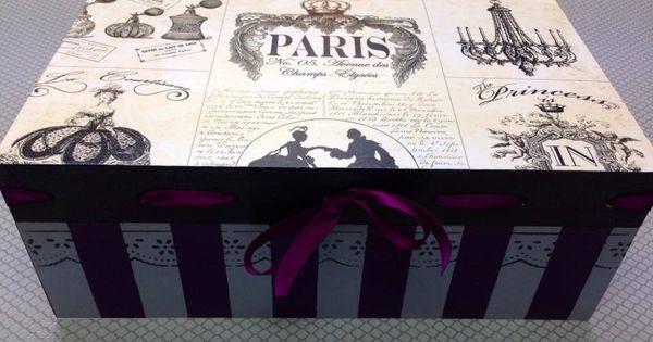 Caja de madera pintada a mano reciclado de cajas y - Cajas grandes de carton decoradas ...