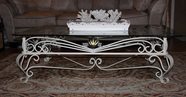Ecru Color Spray Painted Hawaiian Coffee Table With Gold