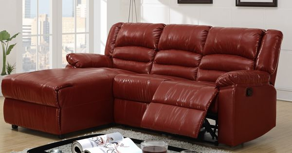 Small burgundy leather reclining sectional sofa recliner for Burgundy leather chaise