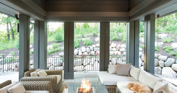 The Screened Porch Features Stained Shiplap Ceiling And