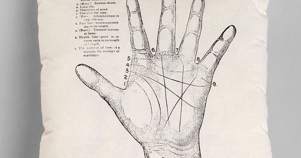 Palmistry throw pillow from Urban Outfitters.