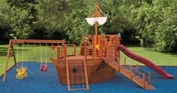Pirate ship play ground. I want this in my back yard ...