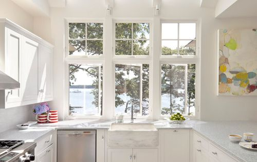 Giant windows are a great way to make a small kitchen seem