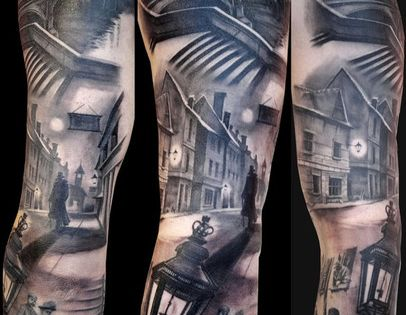 AWESOME COOL UNIQUE REALISTIC & 3D TATTOO TATTOOS - Gray Scale Street