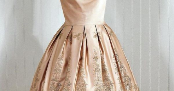 1950's champagne satin cocktail dress.