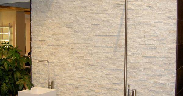 Sneeuwwit Marmer Natuursteenstrips - douche badkamer - Badkamer ...