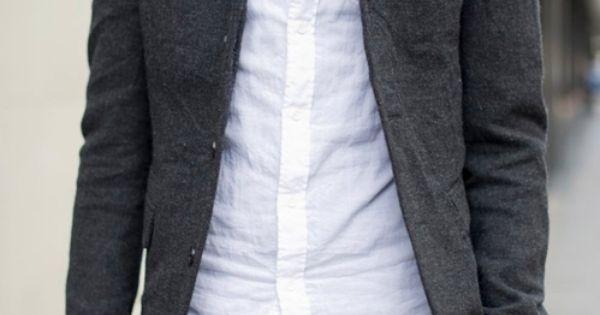 Sexy casual look: dark tee, white shirt, great jacket