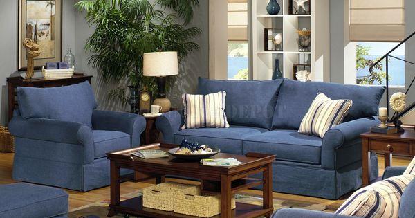 Blue Living Room Furniture Sets Blue Denim Fabric Modern