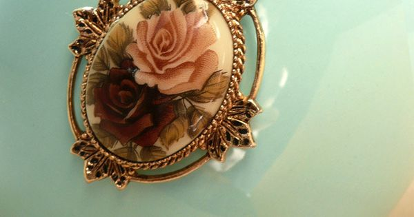 Violet Rose Pendant - Antique Victorian Style Necklace by Avon. via BaubleSea