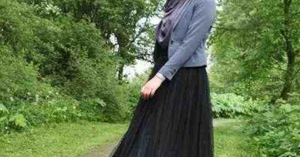 تنورة سوداء طويلة واسعة مع جاكيت رمادي صور ملابس محجبات فساتين Hijab Fashion Fashion Hijabi Fashion